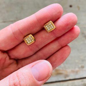 ♥️ Dior ♥️ Gold Square Diamond Earrings